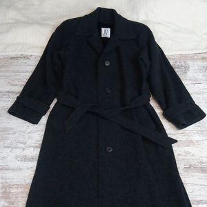 Jones New York Charcoal Gray Long Wool Tie Coat